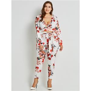Long Sleeve White Pant Set, V Neck Pant Set White, Plus Size Pant Set, Floral Print White Pant Set, Fashion Pant Set for Women, #N16020