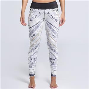 Classical Lovely White Printed Yoga Pants, High Waist Tight Yoga Pants, Fashion Retro Print Fitness Pants, Casual Stretchy Sport Leggings, Women