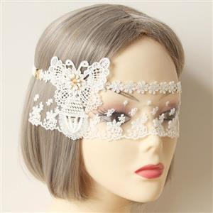 Halloween Masks, Costume Ball Masks, White Lace Mask, Masquerade Party Mask, Bride Wedding Party Masks, #MS12972