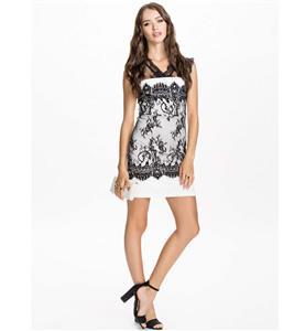 White Lace Package Hip Dress, High-waist Sleeveless Dress, Back Cut Out Dress,Lace split joint White Short Dress, Lady Elegant Party Wedding Dress, #N9309