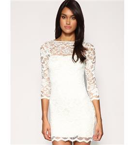 3/4 Length Sleeves Dress, Lace White Dresses, Sexy Slash Neck Dress, #N6473