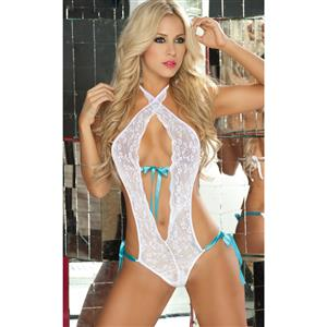 Lace Halter Teddy, Open Back Teddy, Bride Teddy, #N1327