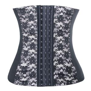 9 Steels Boned Bustier Corset, Cheap Silver Lace Bustier, Women