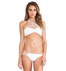 White Line Deign Backless Bikini,  Multi Line Connect Strap Swimsuit,  Beach Bikini Swimsuit, #BK9415