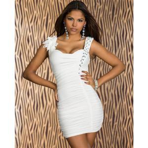 White Rhinestone Dress, Fashion Rhinestones Ruched Dress, White Cocktail Dress, #N6102