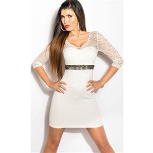White Short Sleeve Party Dress, Short Sleeve White Mini Dress, White Rhinestone Lace Sleeve Dress, #N8230