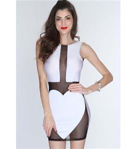 Extraordinary White Sleeveless See-though Dress, Lady Slim Package Hip Dress, Backless Night Club Dress, #N9335