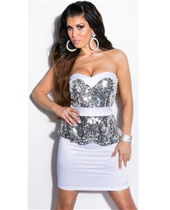 White Sequin Peplum Dress, Sequin Bandeau Peplum Dress, Woman White Peplum Dress, #N7832