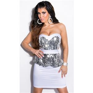 White Sequin Peplum Dress, Sequin Bandeau Peplum Dress, Woman White Peplum Dress, #N7832