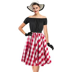 Sexy Black Short Sleeve Off Shoulder Crop Top and Plaid Skirt Set N12969
