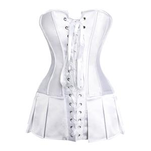 White silk satin body shaper, satin basque corseted skirt, White Satin Skirted Corset, #N5689