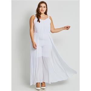 Sleeveless White Jumpsuit, V Neck Jumpsuit White, Plus Size Jumpsuit, Backless White Jumpsuit, Fashion Jumpsuits for Women, Full Length Jumpsuit, #N15792