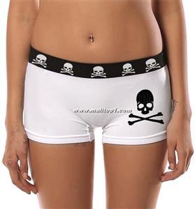 White Ladies Panties, Black Edge Skull Bones Panties, Cheap High Quality Ladies Panties, #PT9644