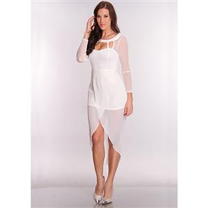 Stylish Sexy Sheer Long Dress, White Elegant Cut Out Dress, High Low Hem Tail Dress, #N8412
