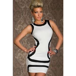 Black and White Bodycon Mini Dress, Color Blocks Tank Mini Dress, Scoop Neck Contrast Color Dress, #N7881