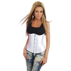 satin underbust corset, White Corset, White Underbust Corset, #N2813