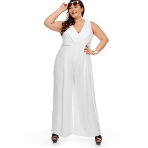 Plus SizeJumpsuit, White Jumpsuits for Women, V Neck Jumpsuit, Slim Plain Jumpsuit, Sleeveless Jumpsuit, Fashion Jumpsuit Plus Size, #N14462
