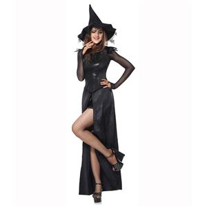 Black Enchantress Costume, Evil Queen Costume, Evil Witch Halloween Costume, The Bad Witch Costume, Black Maxi Dress Witch Costume, Black Split Witch Dress, Wicked Witch Black Dress#N9176