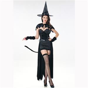 Black Witch Costume, Classical Witch Halloween Costume, Sexy Black Witch Dress Costume, Wicked Witch Masquerade Costume, Witch Halloween Cosplay Adult Costume, #N17090