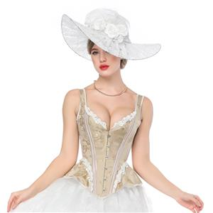 Fashion Apricot Body Shaper Corset, Elegant Apricot Shapewear Corset, Wide Shoulder Straps Overbust Corset, Plastic Bone Shapewear Overbust Corset, Sleeveless V Neck Outerwear Corset, Jacquard Overbust Corset for Women, #N17376