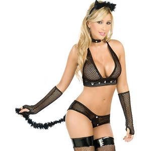 Sexy Kitten Fishnet Costume, Sexy Lingerie Cat Costume, Kitty Pussy Cat Costume, #N8472