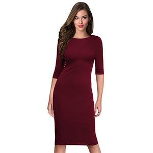 Simple Wine Red Bodycon Midi Dress, Round Neck Half Sleeve Midi Dress, Casual Plain Knee Length Pencil Dress, Round Neck Bodycon Package Hip Dress, Plain Solid Color Bodycon Midi Dress, #N16398