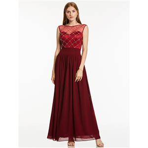 Sexy Evening Gowns, Ankle-Length Evening Gowns, Wine-Red Prom Gowns, Wine-Red Sleeveless  Bridesmaid  Dress, Chiffon Evening Dresses, Beaded Evening Gowns, Wedding Guest Dress, #N15870