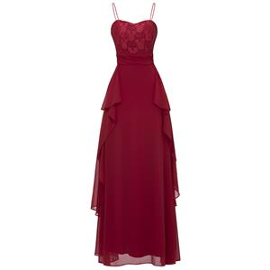 Sleeveless Spaghetti Strap Dress, Wine Red Sweetheart A-Line Dress, Women