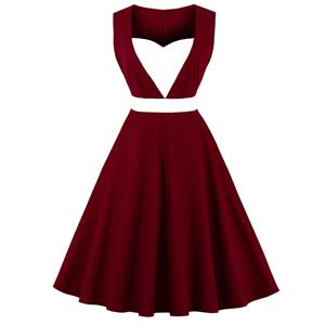 Sleeveless Vintage Dress, Sweetheart Neckline Swing Dress, Plus Size Vintage Dress, 1950s Vintage Dress for Women, Wine-Red Patchwork Vintage Dress, Plus Size Vintage Dress Wine-Red, #N15737
