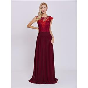 Cap Sleeve Evening Dress, Evening Party Red Dress, Lace Appliques Formal Dress, Chiffion Red Dress for Women, Evening Dress for Women, #N15639