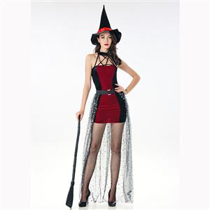 Black/Red Witch Role Play Costume, Classical Adult Witch Halloween Costume, Sexy Halter Witch Dress Costume, Wicked Witch Masquerade Costume, Witch Halloween Adult Cosplay Costume, #N17107
