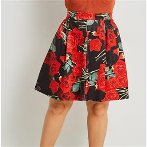 Sexy Skirt for Women, Sexy Plus Size Black Skirt,  Knee-Length Plus Size Skirt, Black Sexy Red Rose Print Skirts, Floral Print Black Skirt, Women Skirts Plus Size, High-Waist Skirts, #N15998