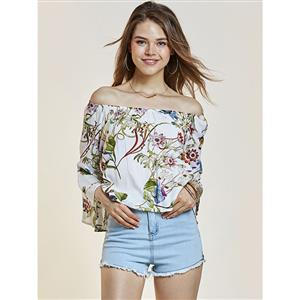 Tops, Floral Print Tops, Flare Tops, Tops for Women, Off Shuolder Tops, Cheap Women