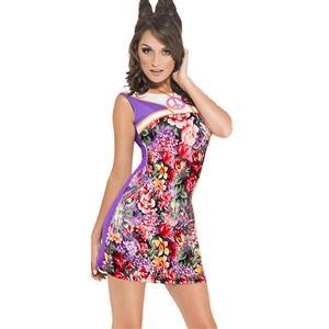 Sexy Casual Dress, Fashion Chrysanthemum Print Dress, Women