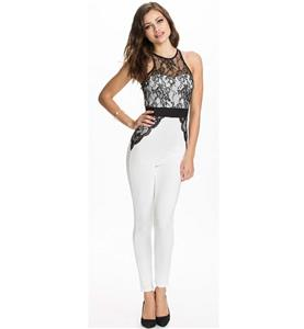 Fashion Jumpsuit, Elegant Catsuit, Cheap Black and White Lace Pants Set, Hot Selling Discount Catsuit, #N10095