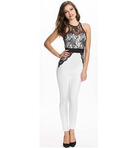 Fashion Jumpsuit, Elegant Catsuit, Cheap Black and White Lace Pants Set, Hot Selling Discount Catsuit, #N10095