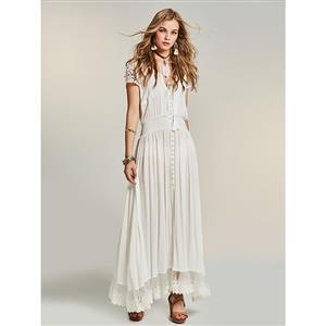 Sexy Dress for Women, Maxi Dresses, Short Sleeve Dress for Women, V Neck Maxi Dress, White Lace Dress, Women Daily Maxi Dress, #N14525