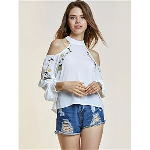 Blouses, Off Shoulder Blouses, Floral Print Shirt, Crop Tops, Stand Collar Blouses, Sexy Blouse for Women, #N14350