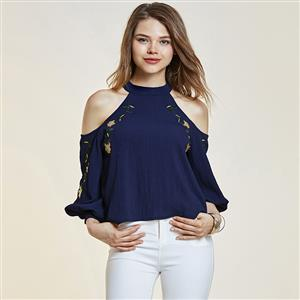 Blouses, Off Shoulder Blouses, Embroidery Shirt, Crop Tops, Stand Collar Blouses, Sexy Blouse for Women, #N14351