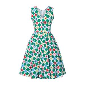 Retro Dresses for Women, Vintage Dresses, Sexy Dresses for Women Cocktail Party, Casual Midi Dress, Swing Daily Dress, Floral Print Dress, #N14399
