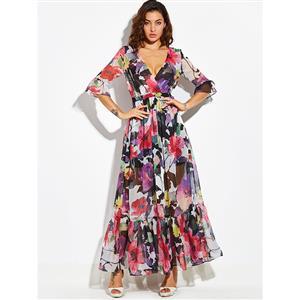 Sexy Dress for Women, Maxi Dresses, Three-Quarter Sleeve Dress for Women, Wrap V Neck Maxi Dress, Floral Print Party Dress , Women Daily Dress, #N14465
