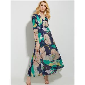 Sexy Dress for Women, Maxi Dresses, Long Sleeve Dress for Women, Wrap V Neck Maxi Dress, Floral Print Party Dress , Women Daily Dress, #N14467
