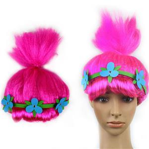 Sexy Women Wigs,Cheap Wigs,Unisex Wigs,Tied horsetail  Women Wigs,Tied Horsetail Wig,Carnival Cosplay Party Wig,Fuchsia Hair Modeling,#MS19653