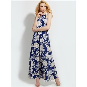 Sexy Dress for Women, Maxi Dresses, Sleeveless Dress for Women, High Neck Maxi Dress, Floral Print Party Dress , Women Daily Dress, #N14466