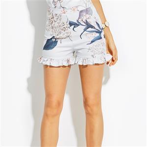 Short Pants, Pants for Women, Slim Fit Pants, Mid Waist Loose Elastic Pants, Cheap Pants for Women,  Floral Print Shorts, #N14915