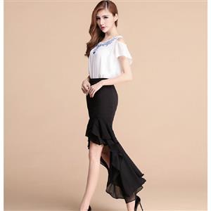 Pencil Skirt, Irregular High Low Skirt, Black Waist Skirts, Long Irregular Hem Skirt, Fishtail Skirt, #N12872