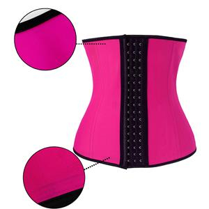 Latex Underbust Corset, Elastic Body Shaper Bustier, High Quality Hot-Pink Steel Bone Underbust Corset, Plus Size Corset, #N18661