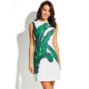 Retro Dresses for Women, Day Dresses for Women, Sexy White Dresses for Women, Casual Mini dress, Leaf Print Swing Daily Dress, #N15440