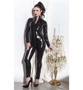 Womens Black Jumpsuit, One-piece Jumpsuit, Cheap Faux Leather Catsuit, Fashion Black Zipper Catsuit, Plus Size Catsuit, #N10992