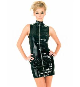 Cheap Black Dress, Clubwear Dress, Fashion PVC Dress, Plus Size Dress, Party Mini Dress, #N10993